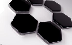 Обои чёрные, узор, соты, ONYX-2b