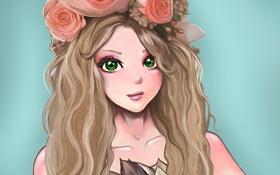 Обои взгляд, девушка, цветы, лицо, фон, волосы, розы