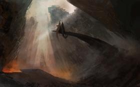 Картинка горы, фантастика, скалы, дракон, монстр, арт