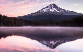Картинка лес, природа, озеро, гора, дымка