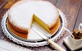 Обои пирог, нож, сахар, выпечка, сахарная пудра, лимонный