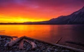 Картинка пейзаж, горы, природа, озеро, рассвет, берег