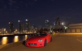 Картинка небо, ночь, город, ночные огни, red, Honda, красная