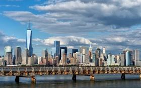 Обои мост, здания, Нью-Йорк, панорама, Манхэттен, Manhattan, New York City