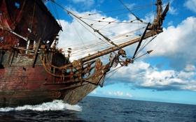 Обои море, небо, облака, корабль, паруса, пираты карибского моря