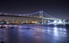 Обои ночной город, New York City, East River, пролив Ист-Ривер, Robert F. Kennedy Bridge, Мост Трайборо, ...