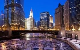 Обои Зима, Вечер, Река, Чикаго, Небоскребы, Здания, Америка