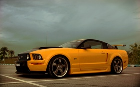 Обои mustang, ford, shelby, yellow, gt500, musclecar, es2