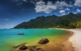 Обои пляж, горы, побережье, Малайзия, Malaysia, Langkawi, Andaman Sea