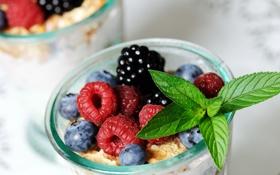 Обои ягоды, малина, черника, тарелка