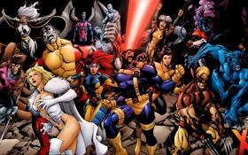 Обои Wolverine, X-Men, Storm, marvel, Magneto, Professor X, Cyclops