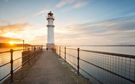 Картинка море, маяк, утро, Scotland, Edinburgh, волнорез, Newhaven