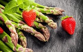 Обои ягоды, клубника, strawberry, спаржа, fresh berries