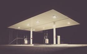 Обои ночь, огни, заправка, станция, колонка, бензин