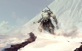 Картинка снег, горы, оружие, воин, арт, рога, шлем