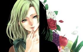 Картинка цветы, Девушка, фрукты, зеленые волосы