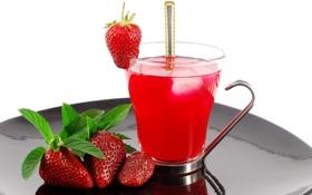 Картинка лето, чай, клубничка, клубника, ягода, ложка, чашка