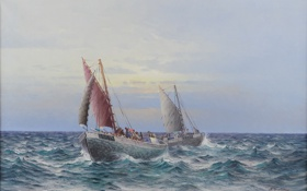 Картинка море, волны, масло, картина, лодки, паруса, холст