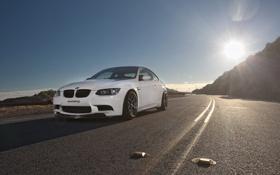 Картинка белый, солнце, бмв, BMW, передок, e92