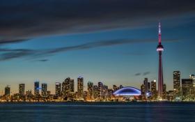 Картинка закат, город, Канада, панорама, skyline, Ontario, Toronto