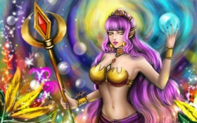 Обои девушка, магия, шар, арт, посох, фиолетовые волосы, Lilyzou
