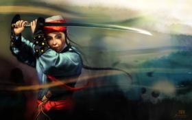 Картинка девушка, меч, катана, размытость, арт, азиатка, национальный наряд