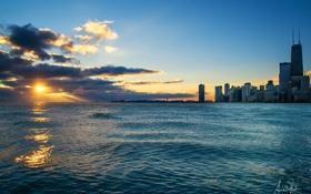 Картинка закат, город, река, небоскребы, вечер, Чикаго, Иллиноис