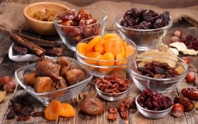 Обои изюм, курага, raisin, Fruit, орехи, nuts, сухофрукты