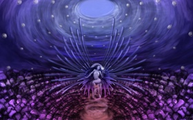 Обои девушка, шары, магия, крылья, кресло, фэнтези, арт