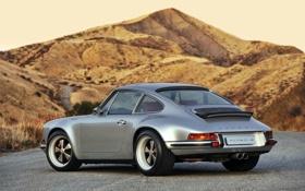 Обои холы.небо, Порше, серебристый, Porsche, 911, тюнинг, Singer