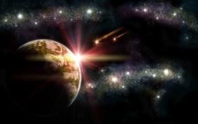 Обои космос, путь, планета, млечный