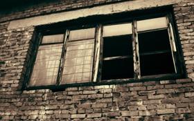 Обои кирпичная стена, окно, решётка