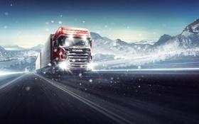 Картинка кузов, scania, метель, фура, автомобиль, дорога, грузовой