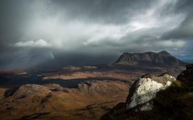 Картинка облака, горы, тучи, Природа, радуга