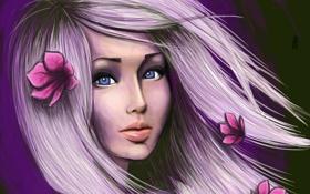 Обои волосы, лицо, розовые, девушка, взгляд, цветки