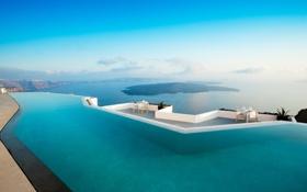 Обои море, бассейн, Grace, Hotel, Santorini