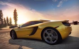 Обои дорога, закат, суперкар, need for speed, hot pursuit, McLaren MP4-12C