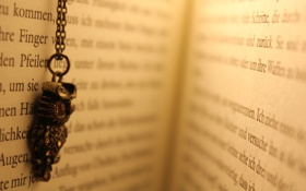 Обои текст, буквы, сова, книга, цепочка, страницы