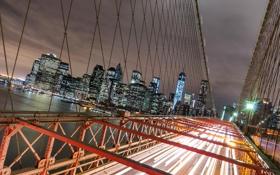 Картинка ночь, мост, огни, Нью-Йорк, небоскребы, фонари, США
