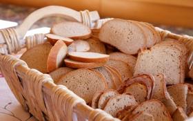 Обои корзина, хлеб, ломтики