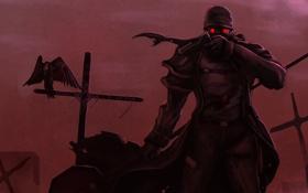 Обои пистолет, стервятник, кровь, пустошь, человек, кресты, маска