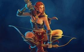 Картинка девушка, эльф, лук, арт, эльфийка, стрелы, синий фон