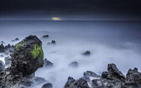 Обои море, пейзаж, ночь, скалы