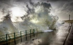 Картинка waves, autumn, Seaburn Promenade, Sunderland, storm