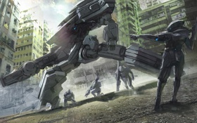 Картинка металл, город, оружие, робот, арт, солдаты, меха