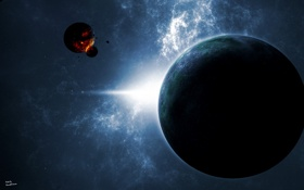 Обои спутник, планета, звезда, impact