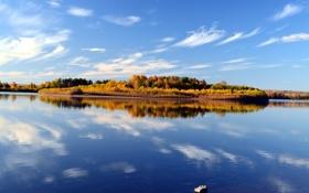Обои осень, небо, вода, облака, пейзаж, отражение, голубое