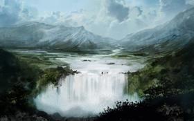 Обои облака, река, скалы, вода, водопад, природа, арт