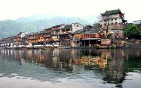 Картинка дома, лодки, Китай, набережная, Fenghuang