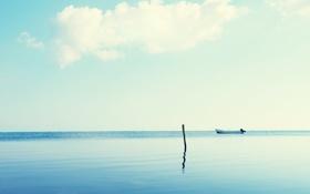 Обои море, небо, лодка
